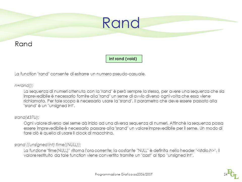Programmazione Grafica aa2006/200724 Rand La function rand consente di estrarre un numero pseudo-casuale.
