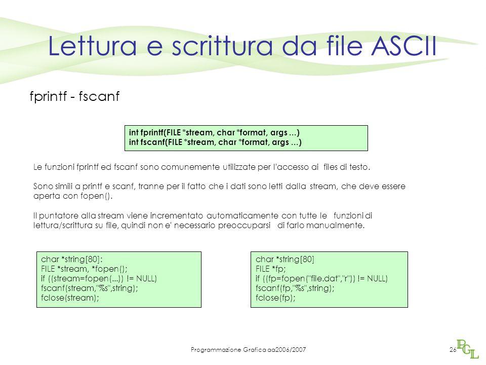 Programmazione Grafica aa2006/200726 Lettura e scrittura da file ASCII fprintf - fscanf Le funzioni fprintf ed fscanf sono comunemente utilizzate per l accesso ai files di testo.