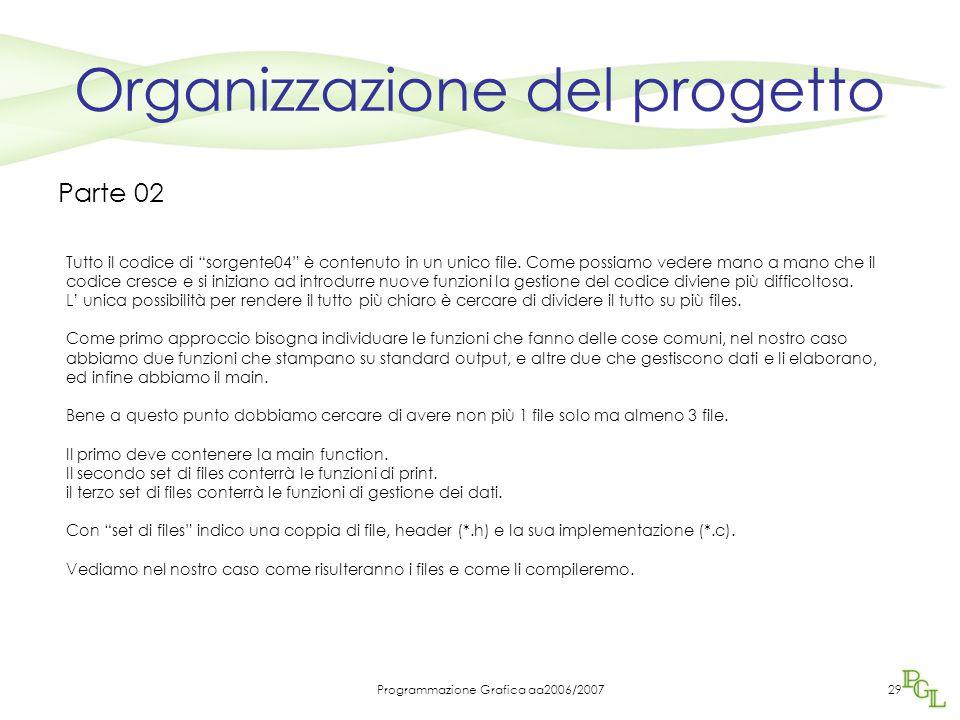 Programmazione Grafica aa2006/200729 Organizzazione del progetto Parte 02 Tutto il codice di sorgente04 è contenuto in un unico file.
