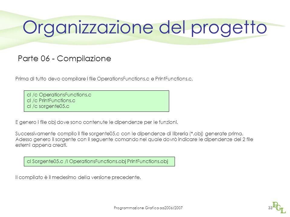 Programmazione Grafica aa2006/200733 Organizzazione del progetto Parte 06 - Compilazione Prima di tutto devo compilare i file OperationsFunctions.c e PrintFunctions.c.