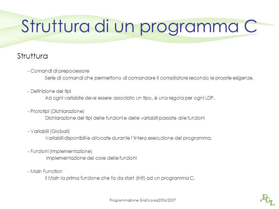 Programmazione Grafica aa2006/20076 Struttura di un programma C Struttura - Comandi di prepocessore Serie di comandi che permettono di comandare il compilatore secondo le proprie esigenze.