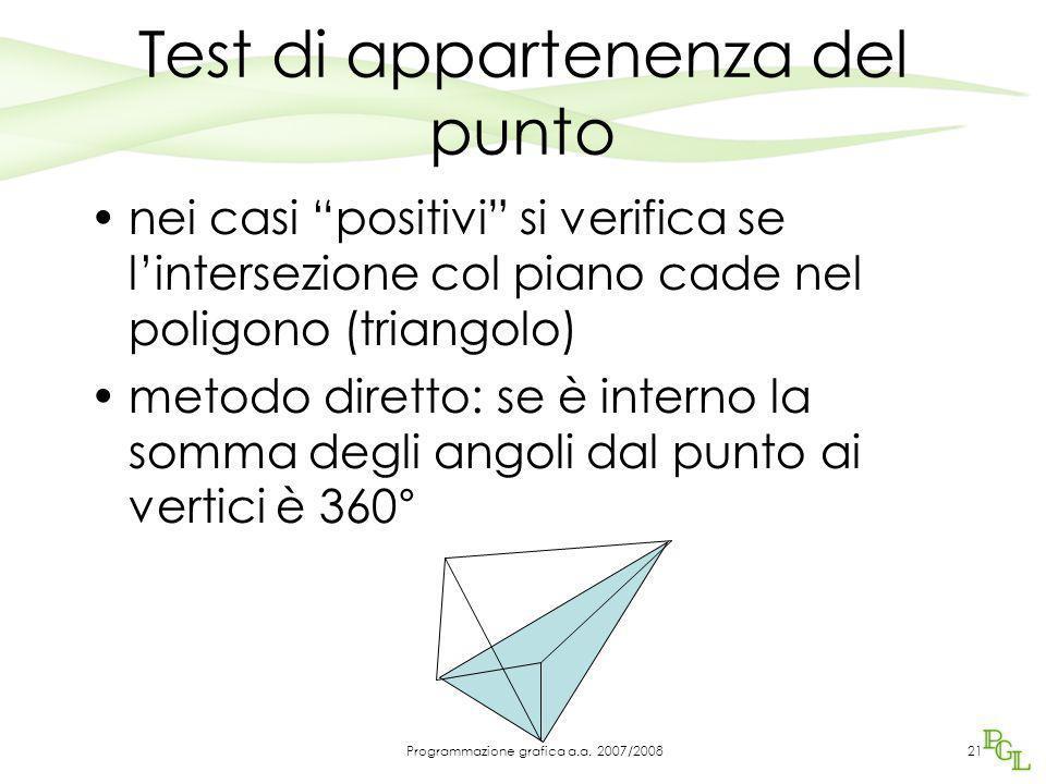 """Test di appartenenza del punto nei casi """"positivi"""" si verifica se l'intersezione col piano cade nel poligono (triangolo) metodo diretto: se è interno"""