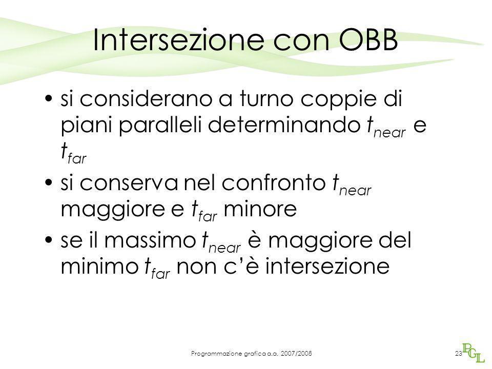 Intersezione con OBB si considerano a turno coppie di piani paralleli determinando t near e t far si conserva nel confronto t near maggiore e t far mi