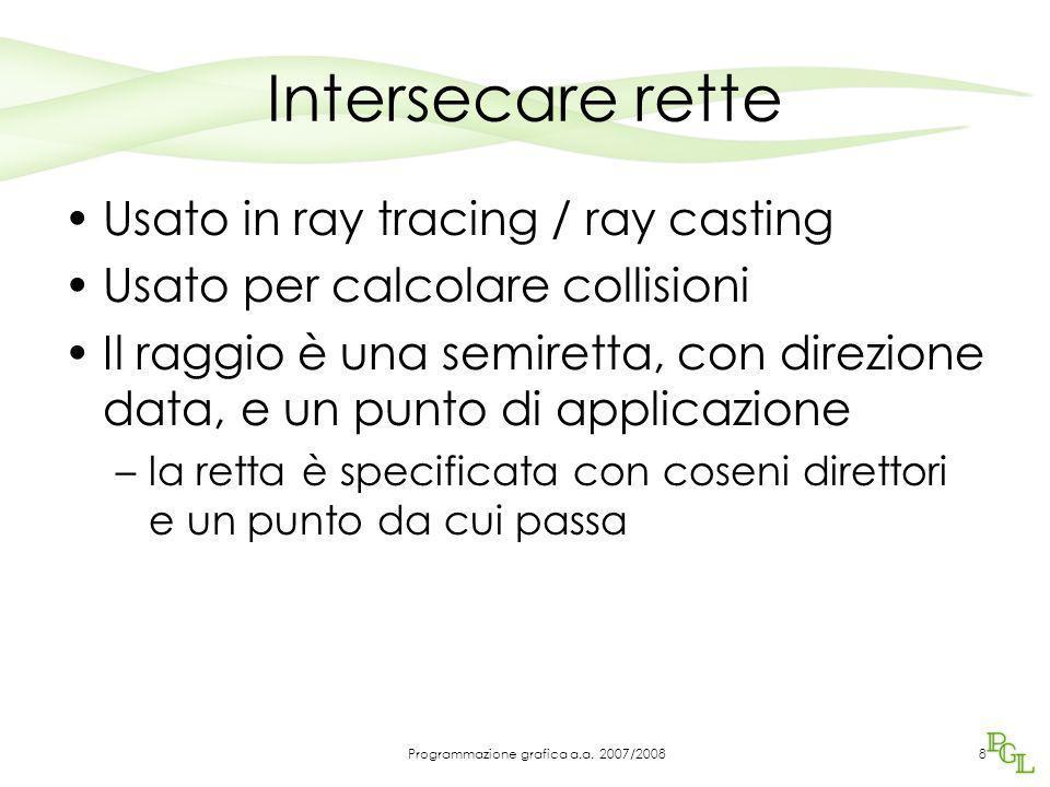 Intersecare rette Usato in ray tracing / ray casting Usato per calcolare collisioni Il raggio è una semiretta, con direzione data, e un punto di appli