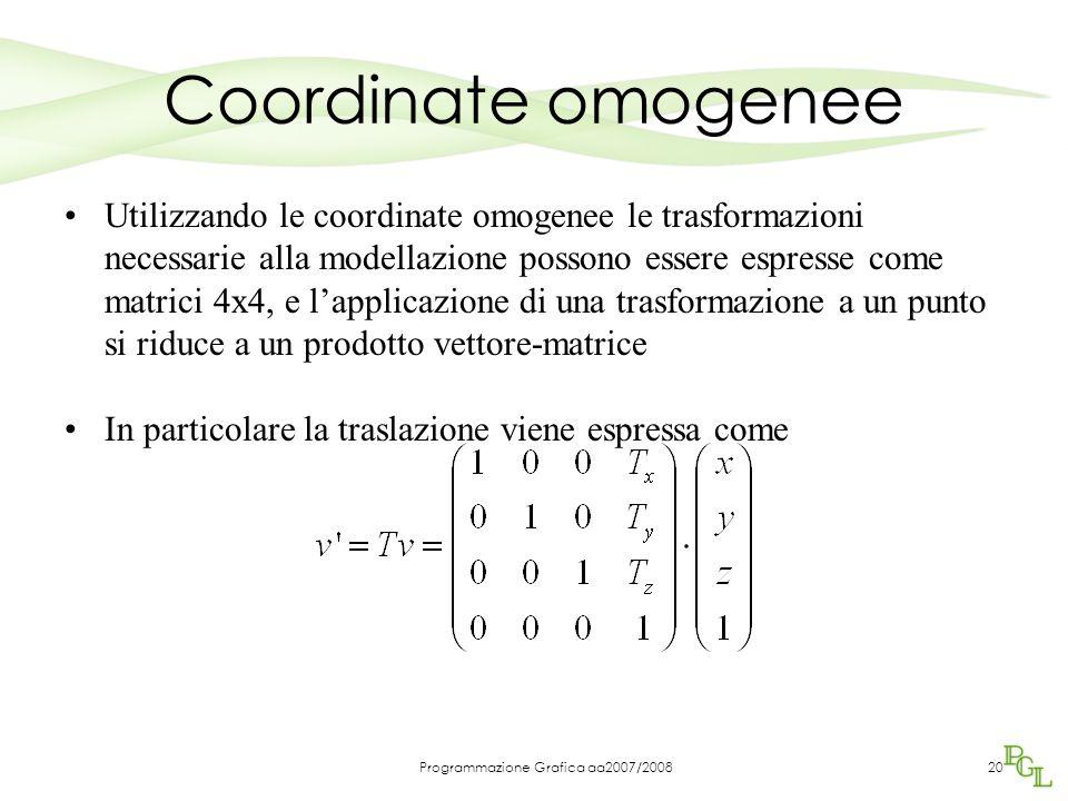 Programmazione Grafica aa2007/200820 Coordinate omogenee Utilizzando le coordinate omogenee le trasformazioni necessarie alla modellazione possono ess