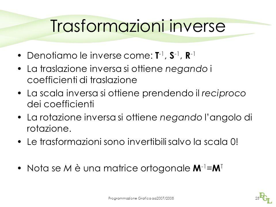 Programmazione Grafica aa2007/200825 Trasformazioni inverse Denotiamo le inverse come: T -1, S -1, R -1 La traslazione inversa si ottiene negando i co