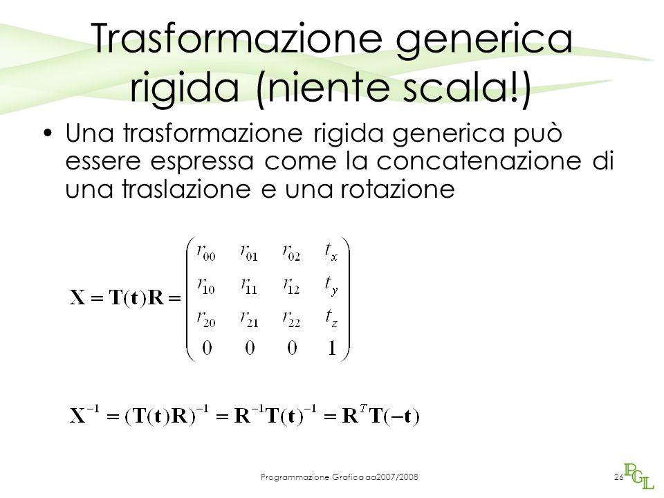 Programmazione Grafica aa2007/200826 Trasformazione generica rigida (niente scala!) Una trasformazione rigida generica può essere espressa come la con
