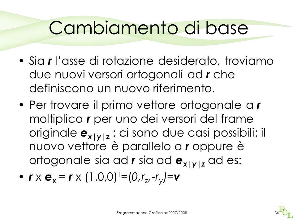 Programmazione Grafica aa2007/200836 Cambiamento di base Sia r l'asse di rotazione desiderato, troviamo due nuovi versori ortogonali ad r che definisc