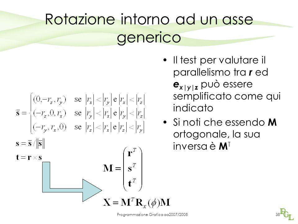 Programmazione Grafica aa2007/200838 Rotazione intorno ad un asse generico Il test per valutare il parallelismo tra r ed e x|y|z può essere semplifica