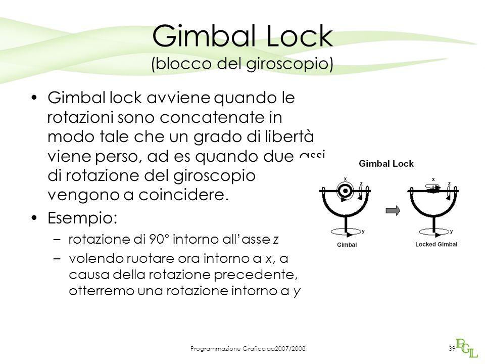 Programmazione Grafica aa2007/200839 Gimbal Lock (blocco del giroscopio) Gimbal lock avviene quando le rotazioni sono concatenate in modo tale che un