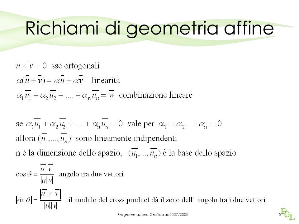 Programmazione Grafica aa2007/20085 Richiami di geometria affine