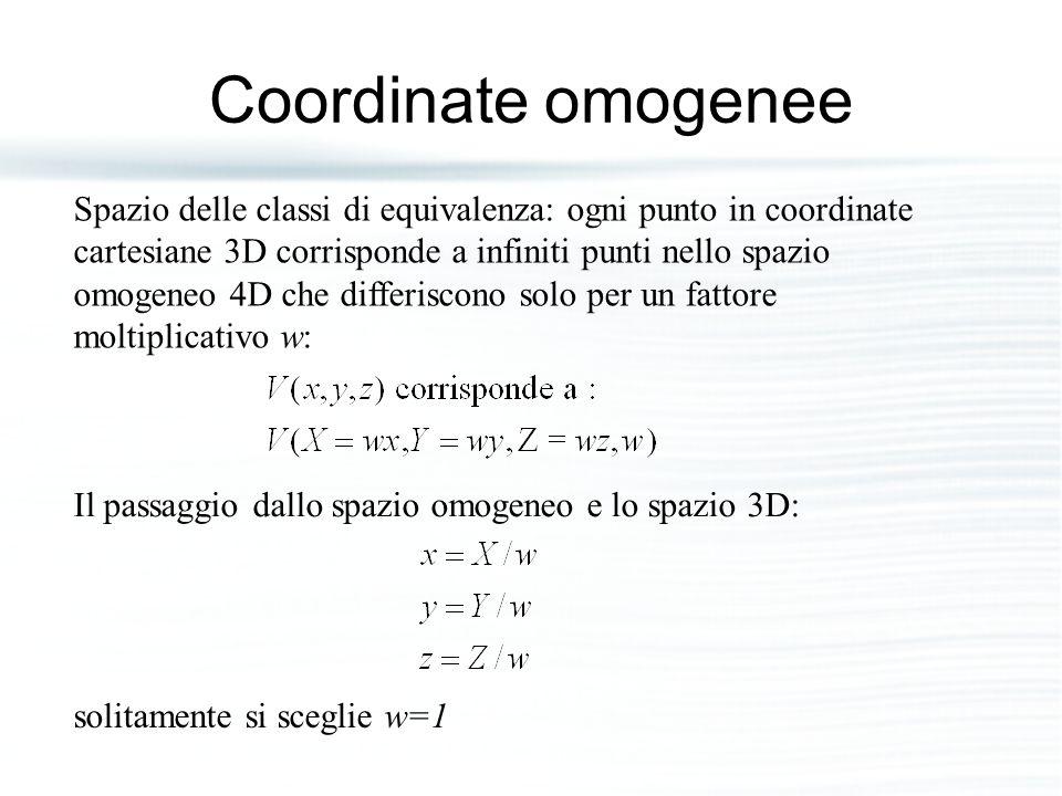 Coordinate omogenee Spazio delle classi di equivalenza: ogni punto in coordinate cartesiane 3D corrisponde a infiniti punti nello spazio omogeneo 4D c