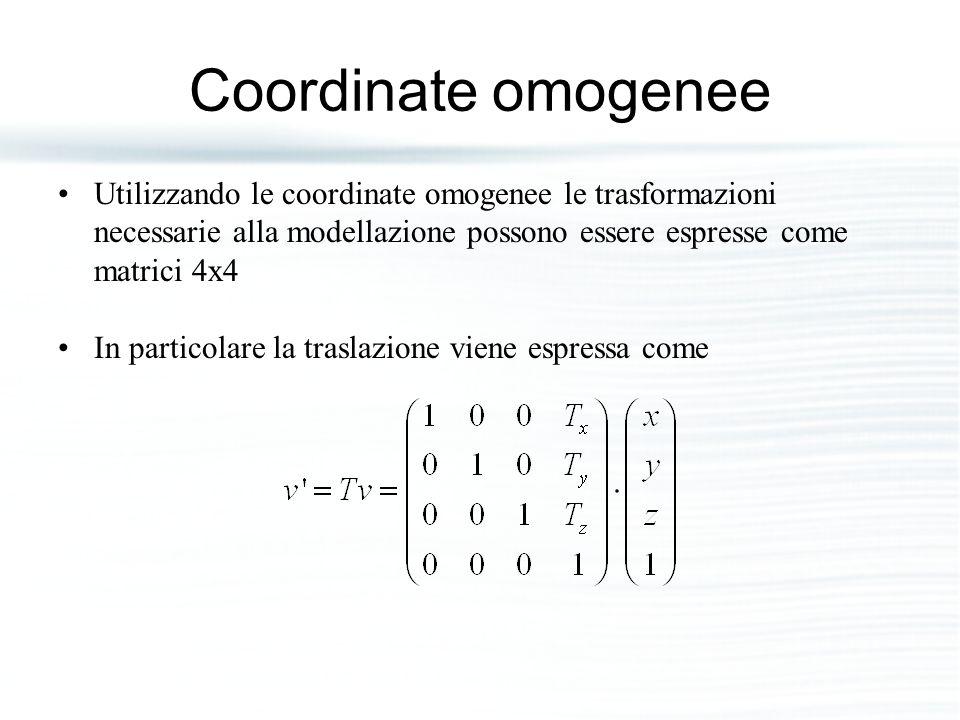 Coordinate omogenee Utilizzando le coordinate omogenee le trasformazioni necessarie alla modellazione possono essere espresse come matrici 4x4 In part