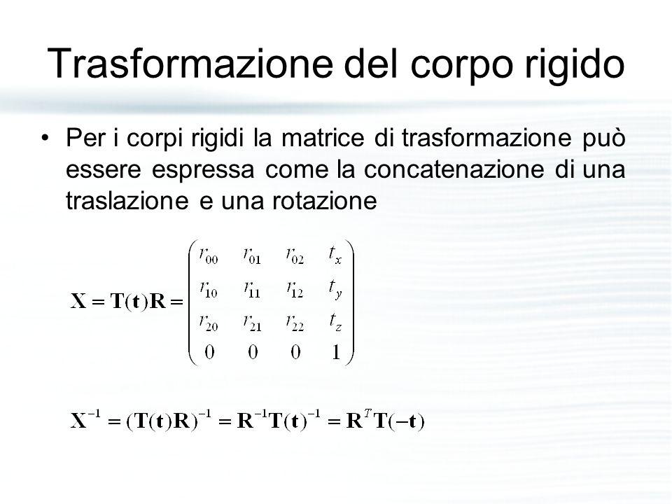 Trasformazione del corpo rigido Per i corpi rigidi la matrice di trasformazione può essere espressa come la concatenazione di una traslazione e una ro