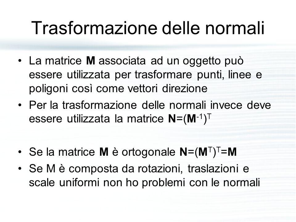 Trasformazione delle normali La matrice M associata ad un oggetto può essere utilizzata per trasformare punti, linee e poligoni così come vettori dire