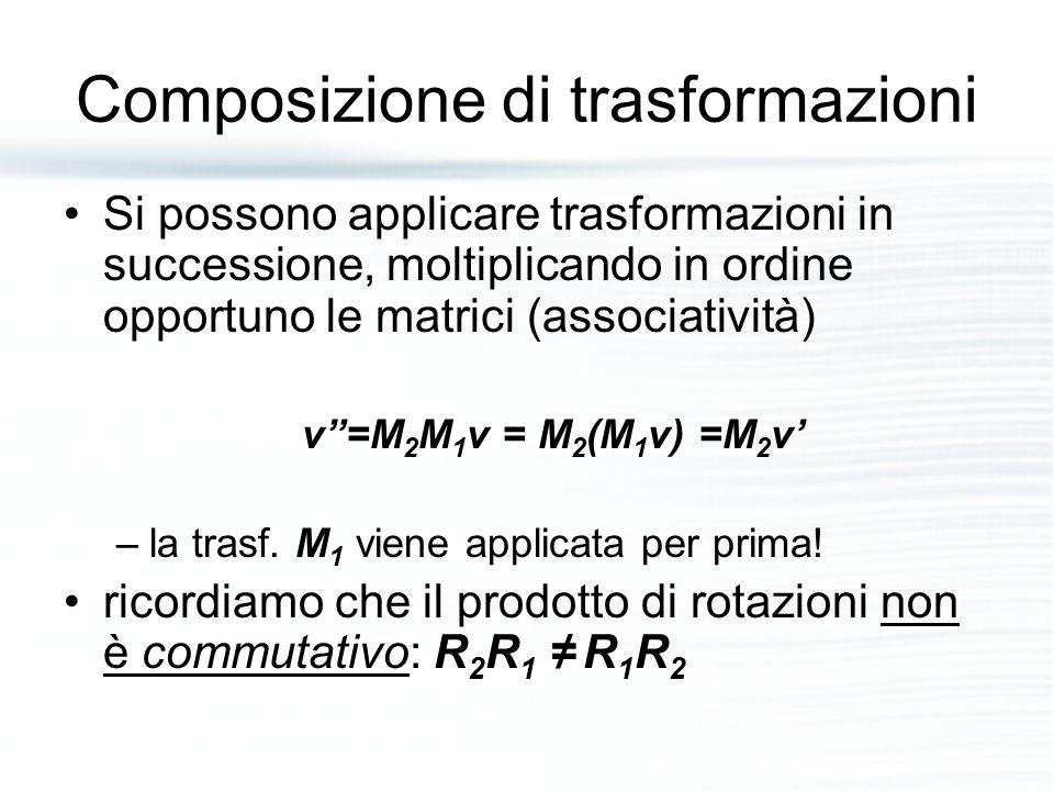 """Composizione di trasformazioni Si possono applicare trasformazioni in successione, moltiplicando in ordine opportuno le matrici (associatività) v""""=M 2"""