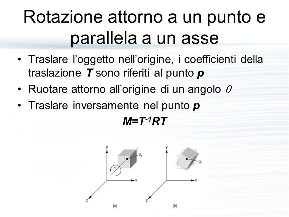 Rotazione attorno a un punto e parallela a un asse Traslare l'oggetto nell'origine, i coefficienti della traslazione T sono riferiti al punto p Ruotar