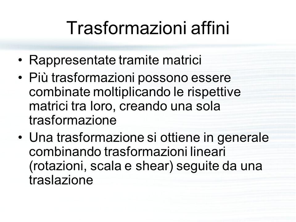 Trasformazioni affini Rappresentate tramite matrici Più trasformazioni possono essere combinate moltiplicando le rispettive matrici tra loro, creando