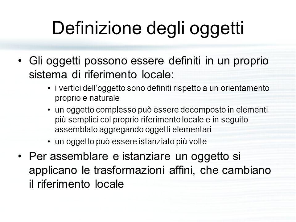 Definizione degli oggetti Gli oggetti possono essere definiti in un proprio sistema di riferimento locale: i vertici dell'oggetto sono definiti rispet
