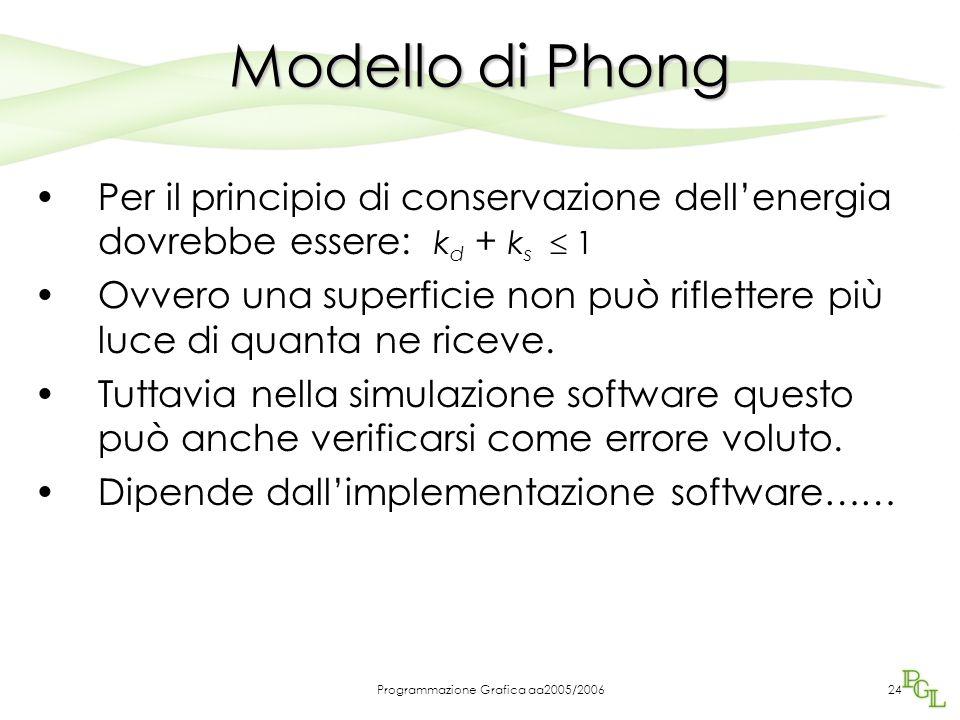 Programmazione Grafica aa2005/200623 Modello di Phong I parametri sono: 1.k d : coefficiente di riflessione diffusa 0  k d  1 2.k s : coefficiente d