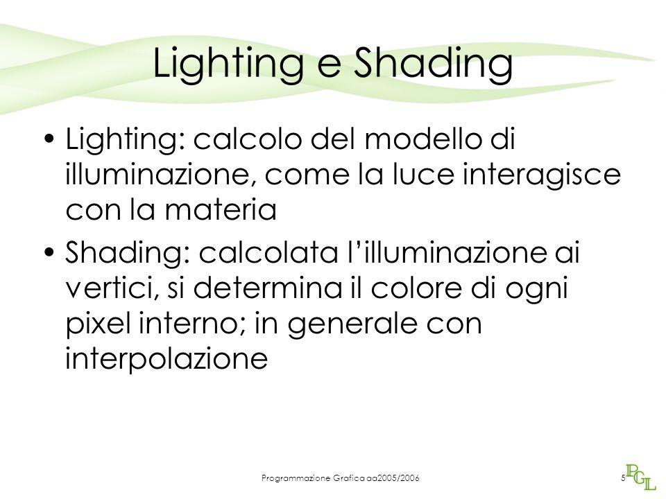 Programmazione Grafica aa2005/20065 Lighting e Shading Lighting: calcolo del modello di illuminazione, come la luce interagisce con la materia Shading: calcolata l'illuminazione ai vertici, si determina il colore di ogni pixel interno; in generale con interpolazione