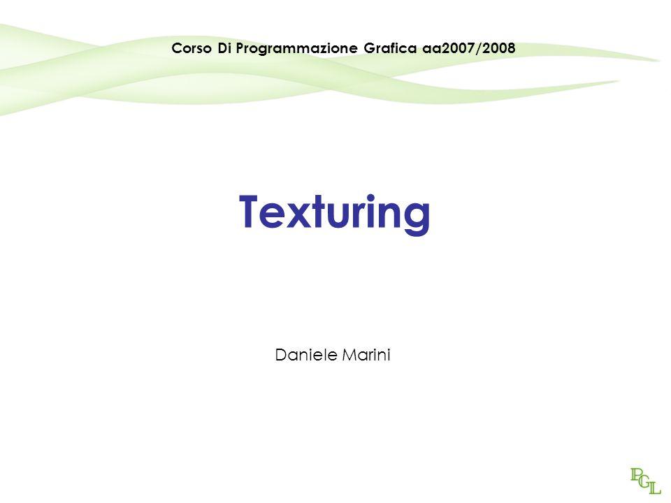 Programmazione Grafica aa2007/200842 Modifica del colore Il colore può essere modulato (alfa blending) o coperto dalla texture: glTexEnv(GL_TEX_ENV,GL_TEX_ENV_MODE,GL_MODULATE) glTexEnv(GL_TEX_ENV,GL_TEX_ENV_MODE,GL_DECAL)