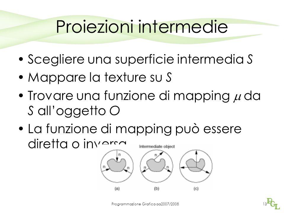 Proiezioni intermedie Scegliere una superficie intermedia S Mappare la texture su S Trovare una funzione di mapping  da S all'oggetto O La funzione di mapping può essere diretta o inversa Programmazione Grafica aa2007/200813