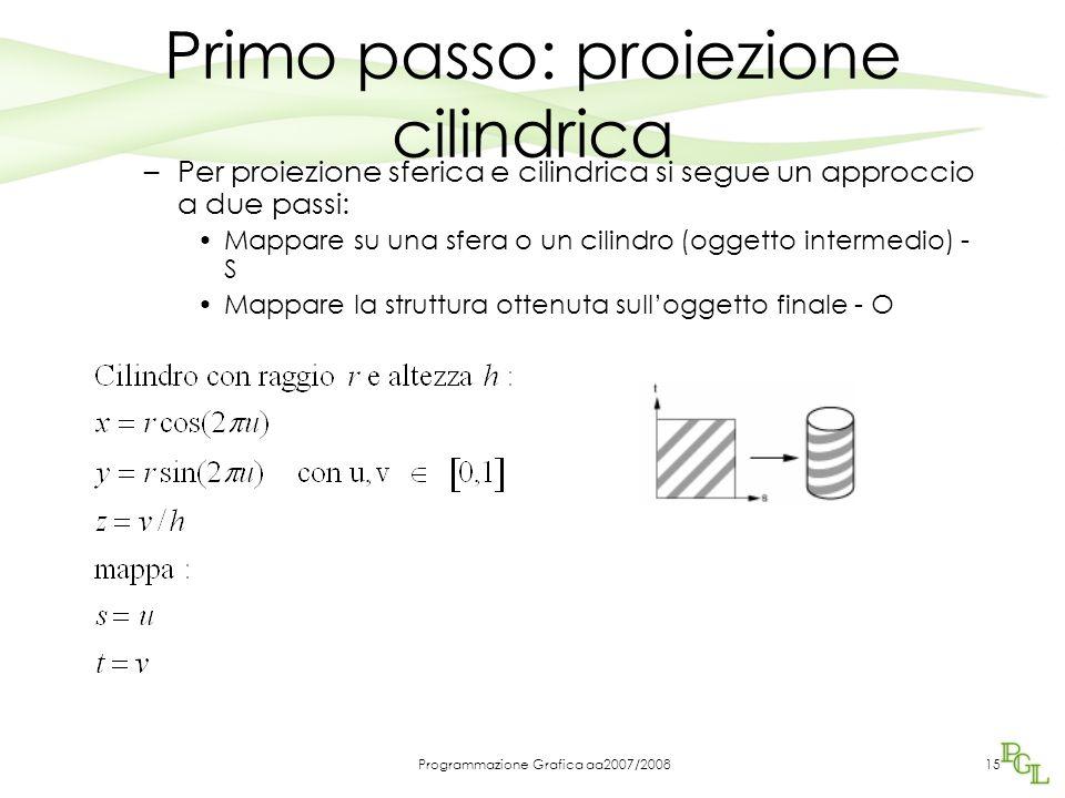 Programmazione Grafica aa2007/200815 Primo passo: proiezione cilindrica –Per proiezione sferica e cilindrica si segue un approccio a due passi: Mappare su una sfera o un cilindro (oggetto intermedio) - S Mappare la struttura ottenuta sull'oggetto finale - O