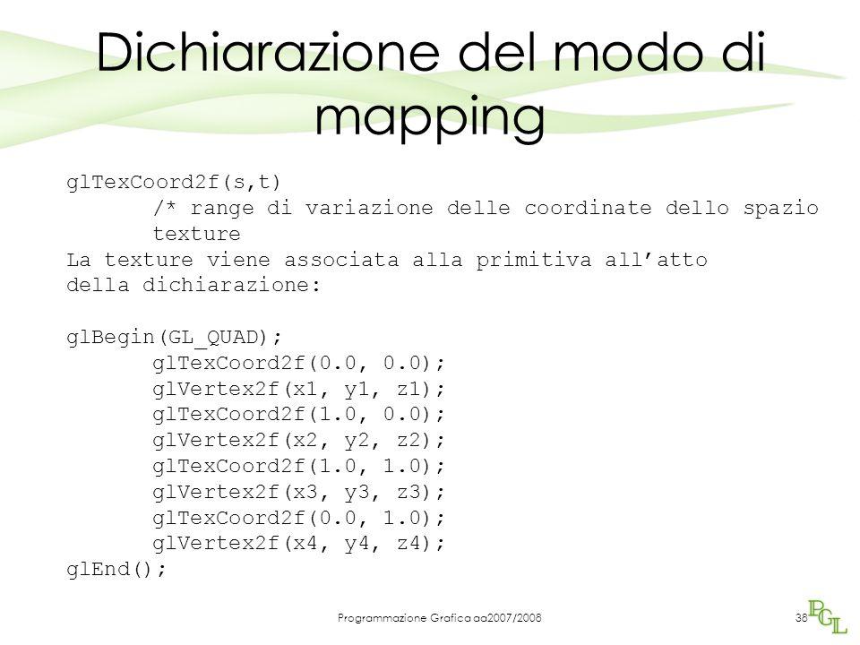 Programmazione Grafica aa2007/200838 Dichiarazione del modo di mapping glTexCoord2f(s,t) /* range di variazione delle coordinate dello spazio texture La texture viene associata alla primitiva all'atto della dichiarazione: glBegin(GL_QUAD); glTexCoord2f(0.0, 0.0); glVertex2f(x1, y1, z1); glTexCoord2f(1.0, 0.0); glVertex2f(x2, y2, z2); glTexCoord2f(1.0, 1.0); glVertex2f(x3, y3, z3); glTexCoord2f(0.0, 1.0); glVertex2f(x4, y4, z4); glEnd();