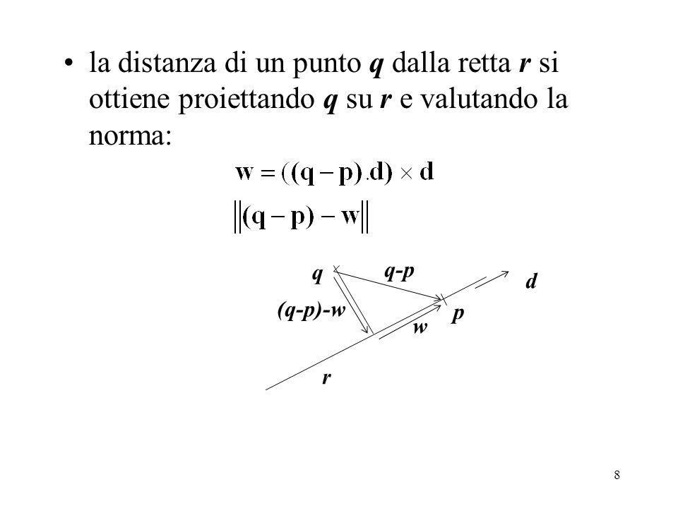 8 la distanza di un punto q dalla retta r si ottiene proiettando q su r e valutando la norma: r q p d q-p w (q-p)-w