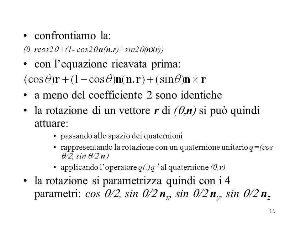 10 confrontiamo la: (0, rcos2  +(1- cos2  n(n.r)+sin2  n x r)) con l'equazione ricavata prima: a meno del coefficiente 2 sono identiche la rotazione di un vettore r di (  n) si può quindi attuare: passando allo spazio dei quaternioni rappresentando la rotazione con un quaternione unitario q=(cos , sin  n  applicando l'operatore q(.)q -1 al quaternione (0,r) la rotazione si parametrizza quindi con i 4 parametri: cos , sin  n x, sin  n y, sin  n z