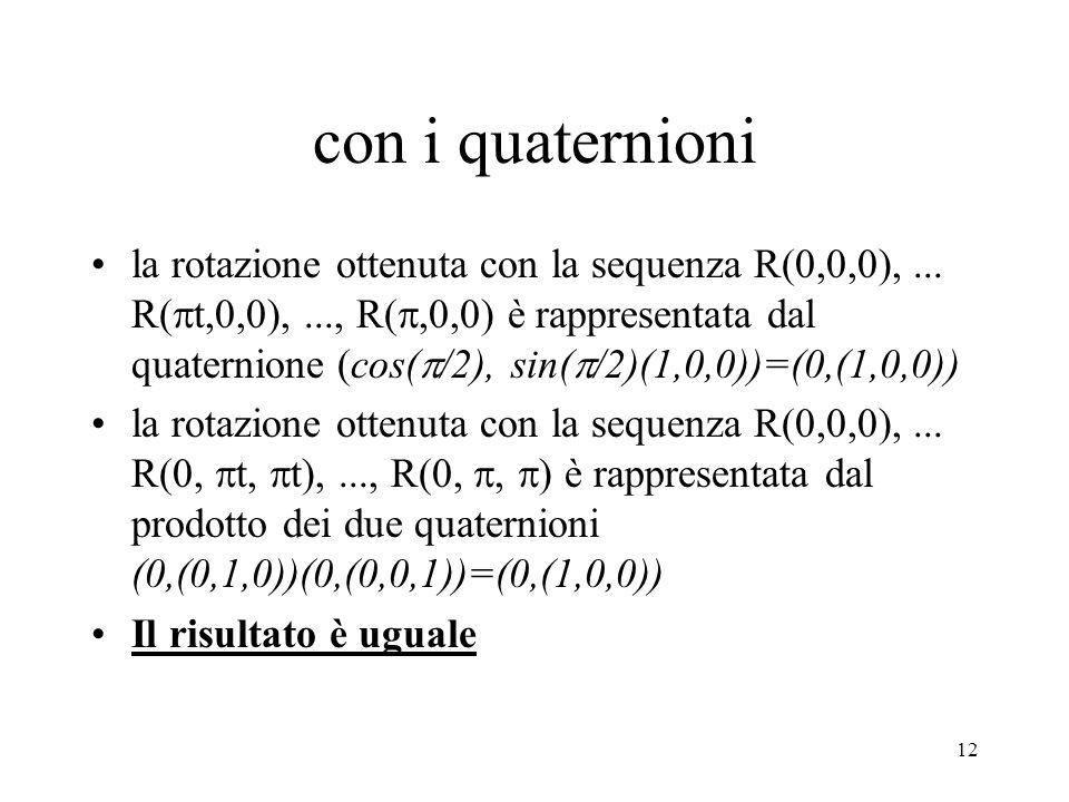 12 con i quaternioni la rotazione ottenuta con la sequenza R(0,0,0),...