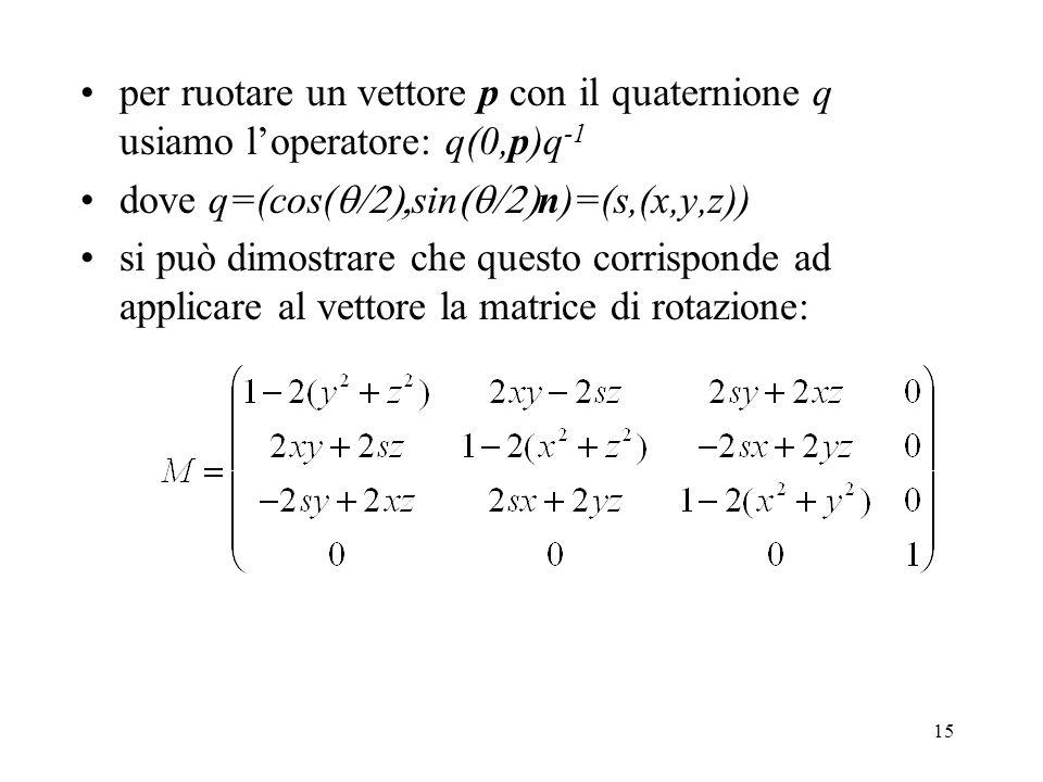 15 per ruotare un vettore p con il quaternione q usiamo l'operatore: q(0,p)q -1 dove q=(cos(  sin  n)=(s,(x,y,z)) si può dimostrare che questo corrisponde ad applicare al vettore la matrice di rotazione: