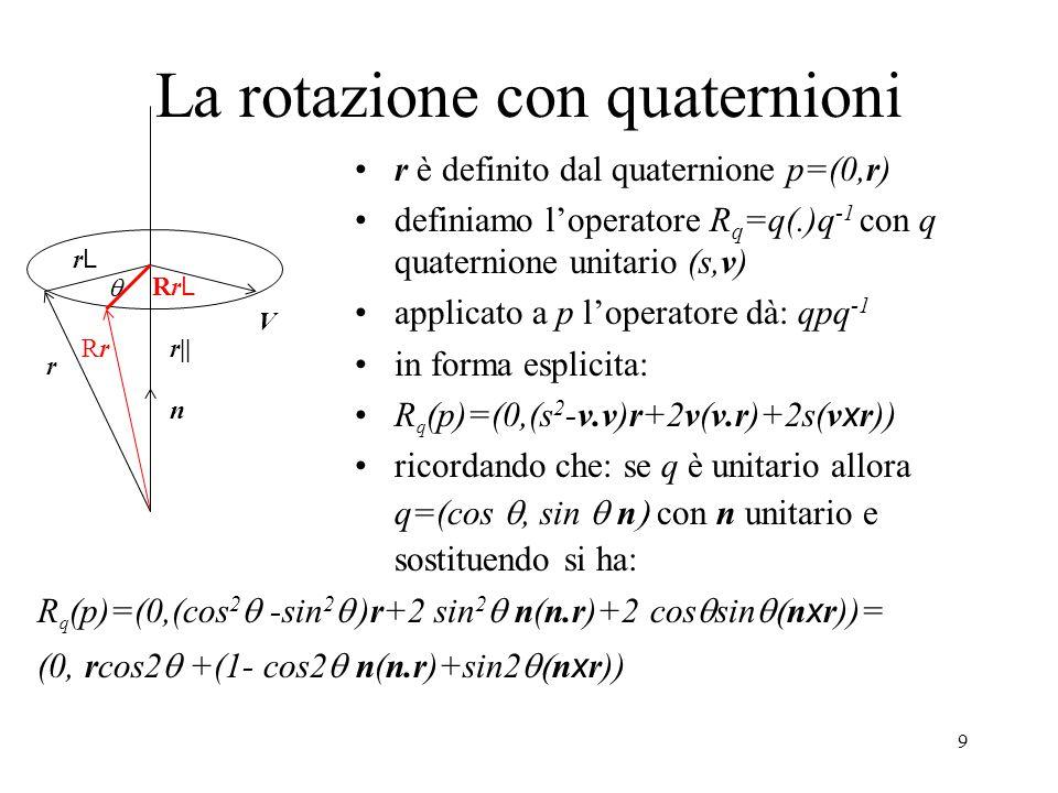 9 La rotazione con quaternioni r è definito dal quaternione p=(0,r) definiamo l'operatore R q =q(.)q -1 con q quaternione unitario (s,v) applicato a p l'operatore dà: qpq -1 in forma esplicita: R q (p)=(0,(s 2 -v.v)r+2v(v.r)+2s(v x r)) ricordando che: se q è unitario allora q=(cos , sin  n  con n unitario e sostituendo si ha: r RrRr  n V r|| rLrL RrLRrL R q (p)=(0,(cos 2  -sin 2  )r+2 sin 2  n(n.r)+2 cos  sin  n x r))= (0, rcos2  +(1- cos2  n(n.r)+sin2  n x r))