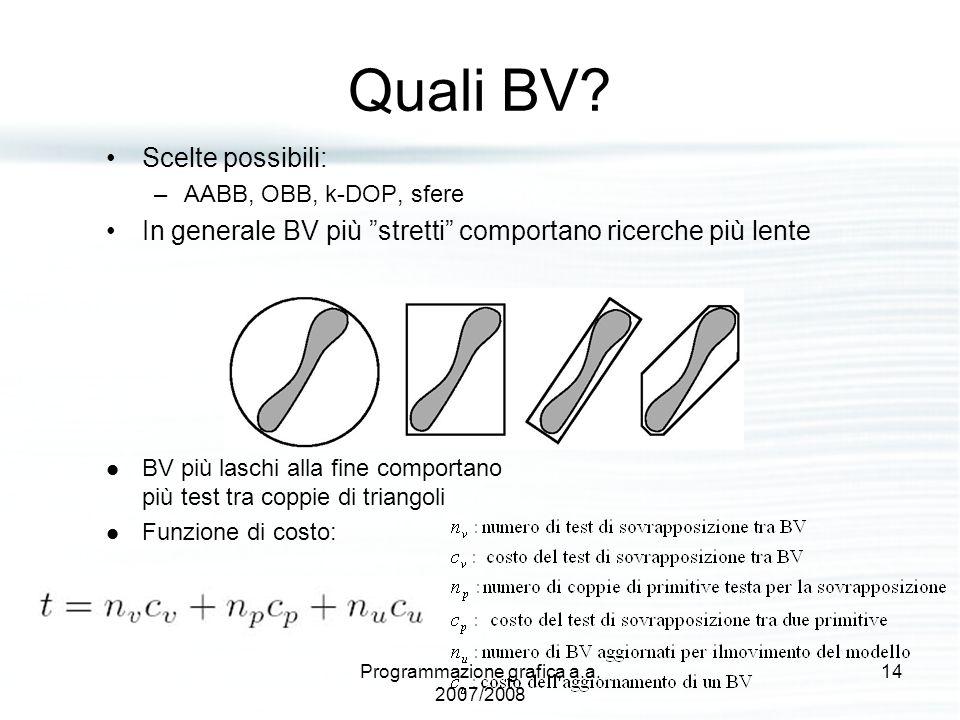 """Quali BV? Scelte possibili: –AABB, OBB, k-DOP, sfere In generale BV più """"stretti"""" comportano ricerche più lente BV più laschi alla fine comportano più"""