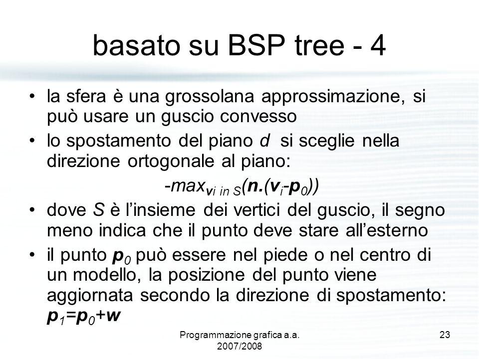 basato su BSP tree - 4 la sfera è una grossolana approssimazione, si può usare un guscio convesso lo spostamento del piano d si sceglie nella direzion
