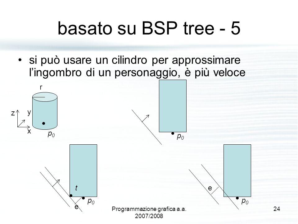 basato su BSP tree - 5 si può usare un cilindro per approssimare l'ingombro di un personaggio, è più veloce p0p0 r z y x p0p0 p0p0 t p0p0 e e 24Progra