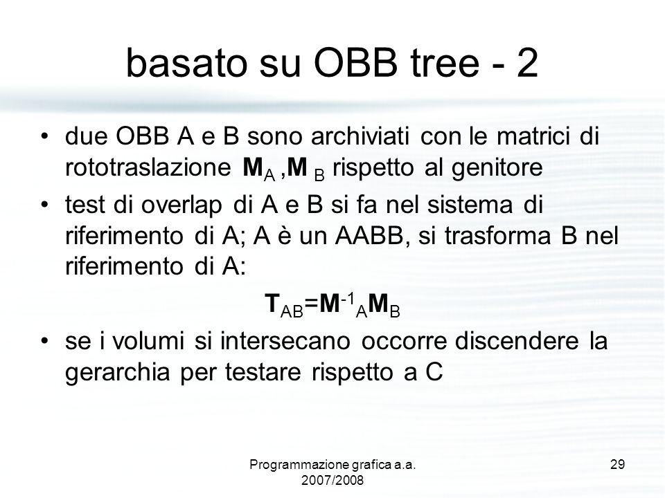 basato su OBB tree - 2 due OBB A e B sono archiviati con le matrici di rototraslazione M A,M B rispetto al genitore test di overlap di A e B si fa nel