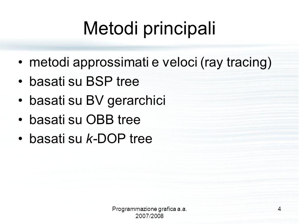 Metodi principali metodi approssimati e veloci (ray tracing) basati su BSP tree basati su BV gerarchici basati su OBB tree basati su k-DOP tree 4Progr