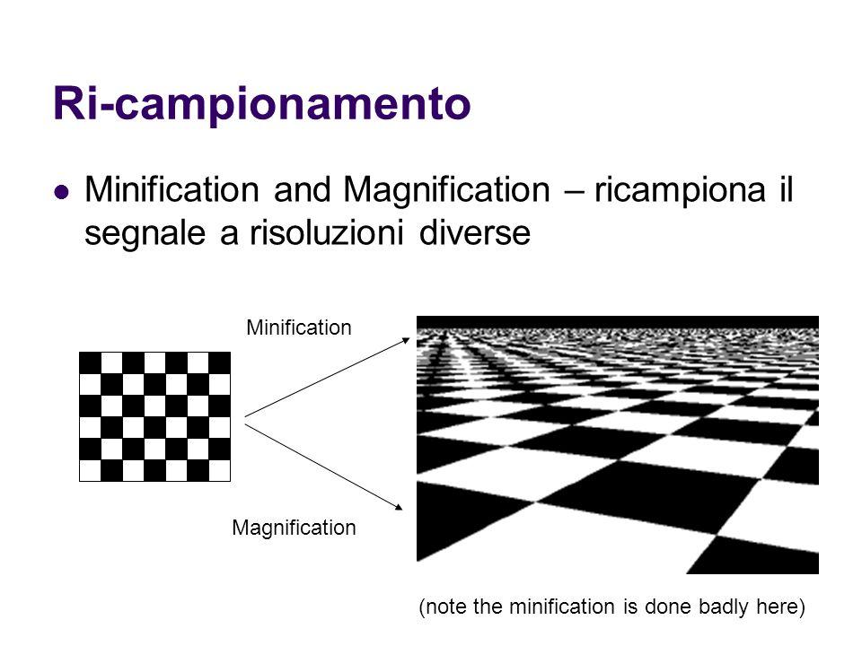 Ri-campionamento Minification and Magnification – ricampiona il segnale a risoluzioni diverse Magnification Minification (note the minification is don