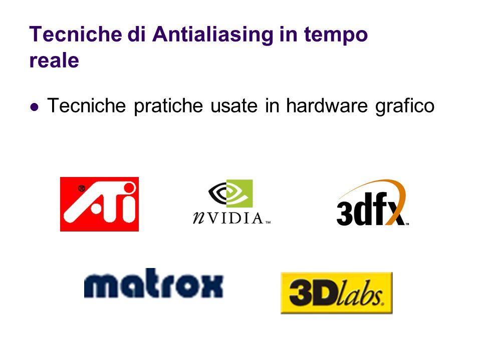 Tecniche di Antialiasing in tempo reale Tecniche pratiche usate in hardware grafico