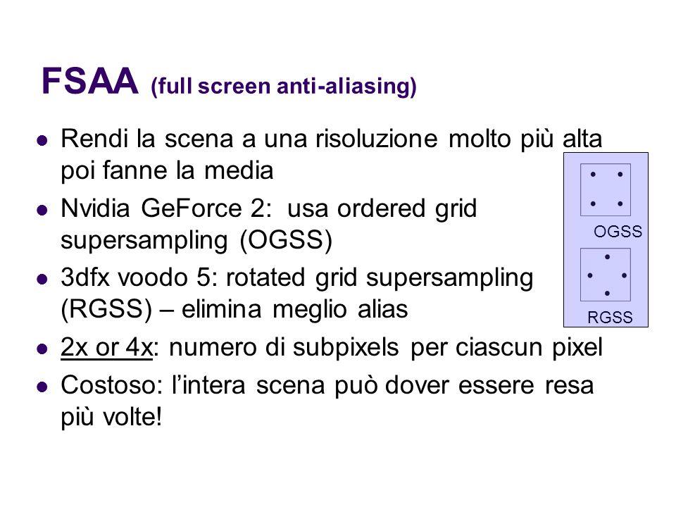 FSAA (full screen anti-aliasing) Rendi la scena a una risoluzione molto più alta poi fanne la media Nvidia GeForce 2: usa ordered grid supersampling (OGSS) 3dfx voodo 5: rotated grid supersampling (RGSS) – elimina meglio alias 2x or 4x: numero di subpixels per ciascun pixel Costoso: l'intera scena può dover essere resa più volte.
