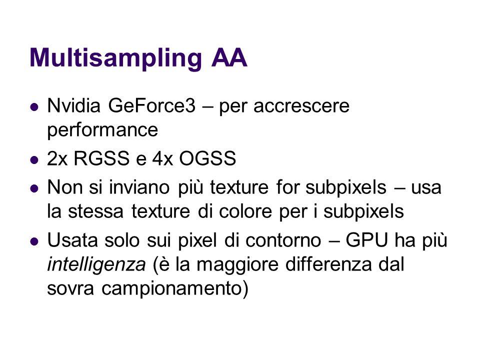 Multisampling AA Nvidia GeForce3 – per accrescere performance 2x RGSS e 4x OGSS Non si inviano più texture for subpixels – usa la stessa texture di colore per i subpixels Usata solo sui pixel di contorno – GPU ha più intelligenza (è la maggiore differenza dal sovra campionamento)