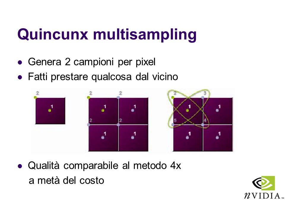 Quincunx multisampling Genera 2 campioni per pixel Fatti prestare qualcosa dal vicino Qualità comparabile al metodo 4x a metà del costo