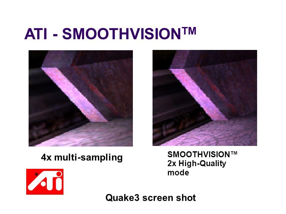 ATI - SMOOTHVISION TM Quake3 screen shot 4x multi-sampling SMOOTHVISION™ 2x High-Quality mode