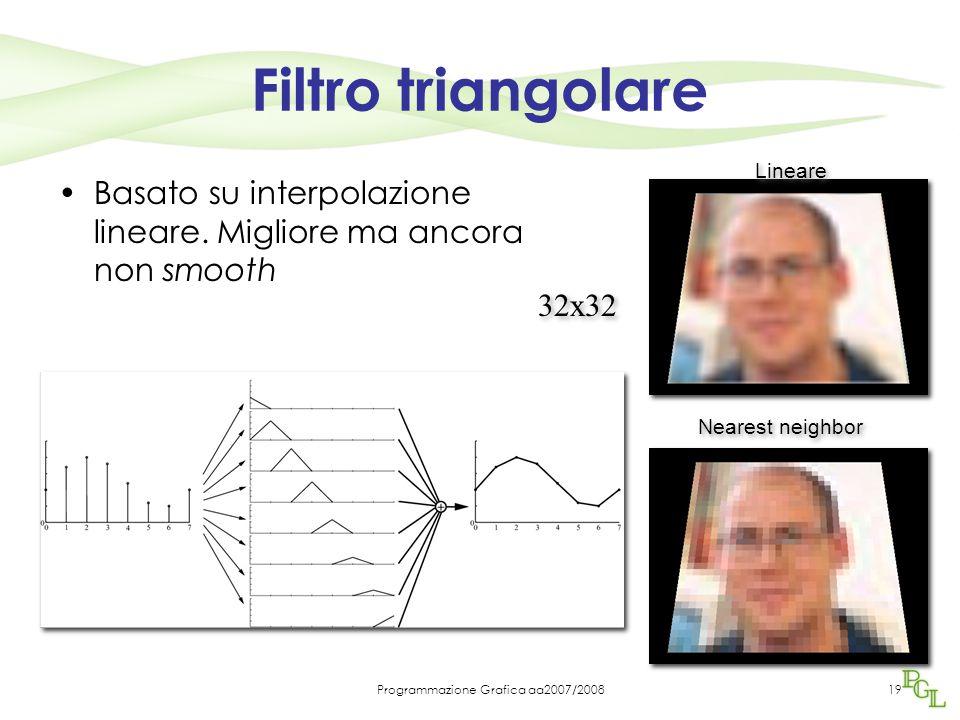 Programmazione Grafica aa2007/200819 Filtro triangolare Basato su interpolazione lineare. Migliore ma ancora non smooth 32x32 Nearest neighbor Lineare