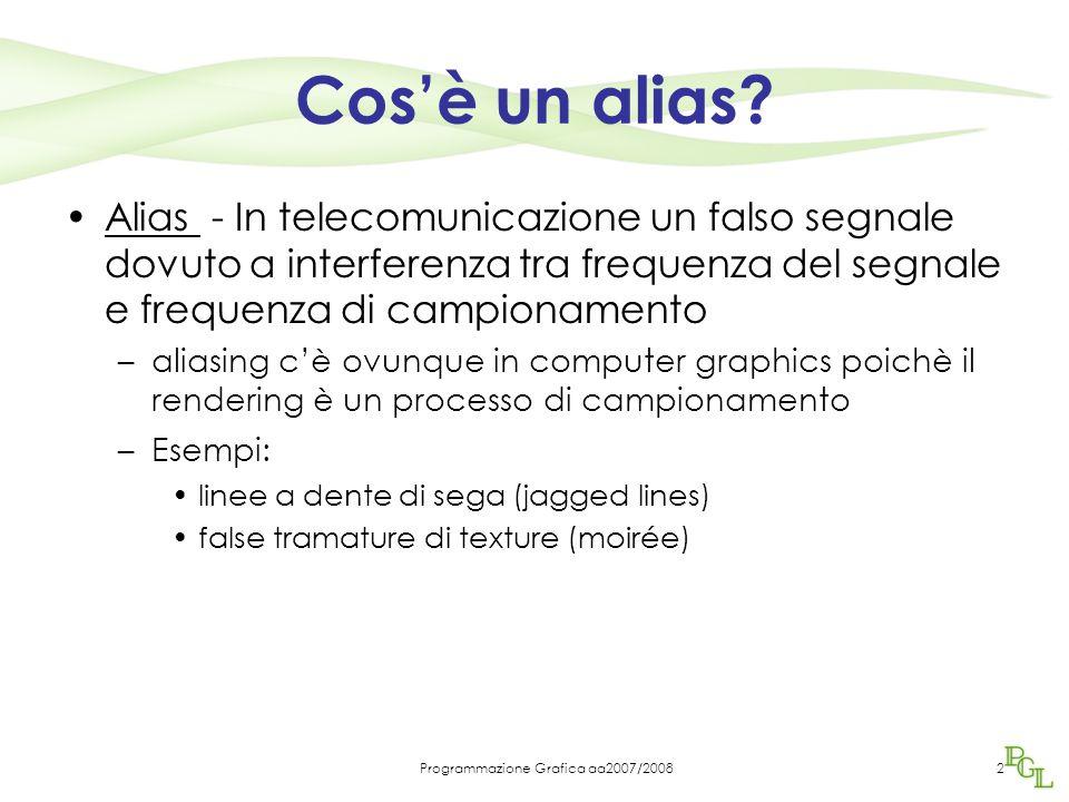 Programmazione Grafica aa2007/20082 Cos'è un alias? Alias - In telecomunicazione un falso segnale dovuto a interferenza tra frequenza del segnale e fr