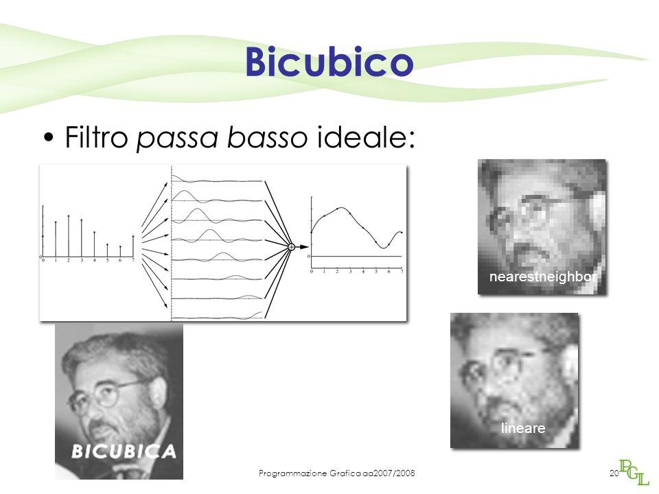 Programmazione Grafica aa2007/200820 Bicubico Filtro passa basso ideale: nearestneighbor lineare bicubica