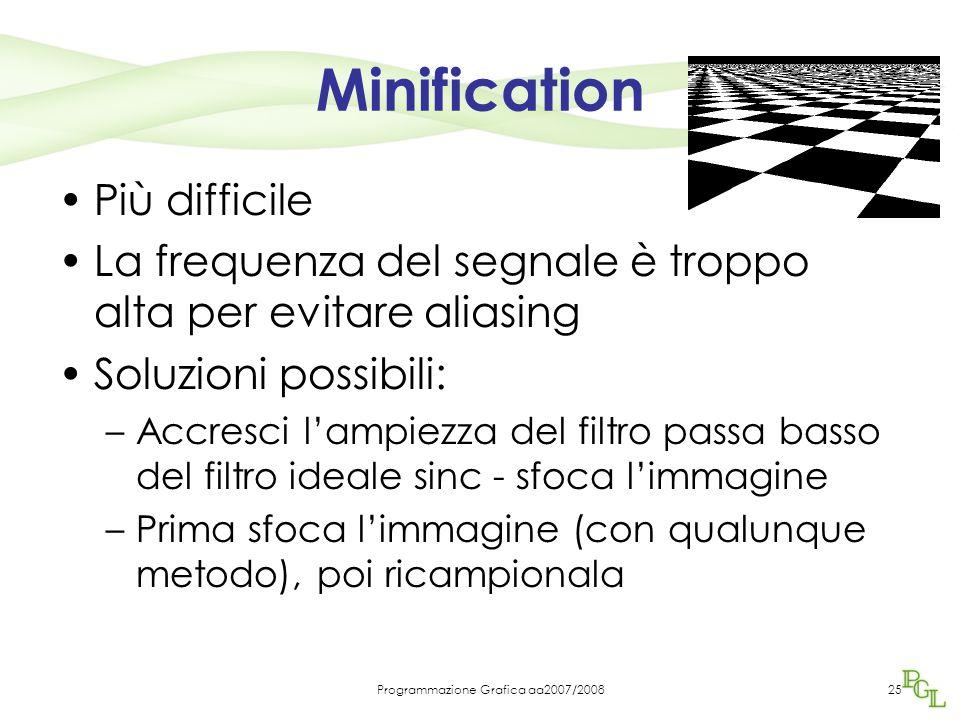 Programmazione Grafica aa2007/200825 Minification Più difficile La frequenza del segnale è troppo alta per evitare aliasing Soluzioni possibili: –Accr