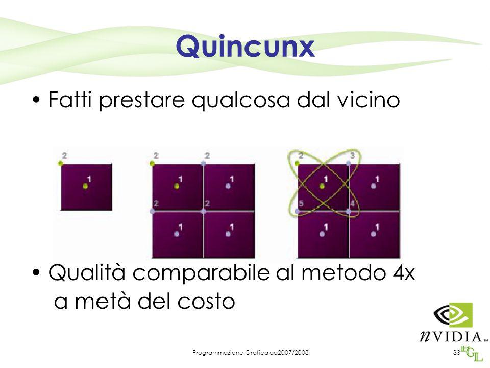 Programmazione Grafica aa2007/200833 Quincunx Fatti prestare qualcosa dal vicino Qualità comparabile al metodo 4x a metà del costo